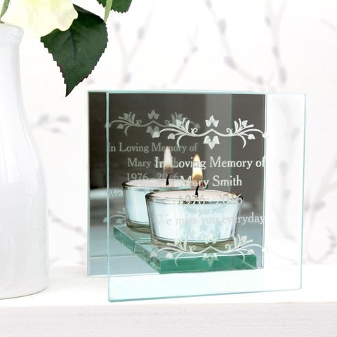Personalised Sentiments Mirrored Glass Tea Light Holder | ShaneToddGifts.co.uk