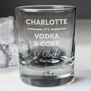 Personalised Its... OClock Tumbler Bubble Glass