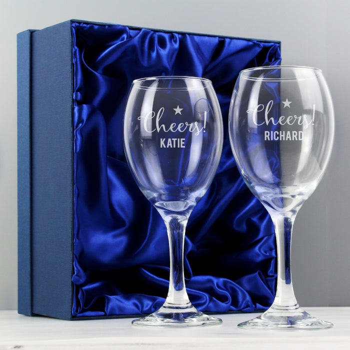 Buy Personalised Cheers Wine Glass Set