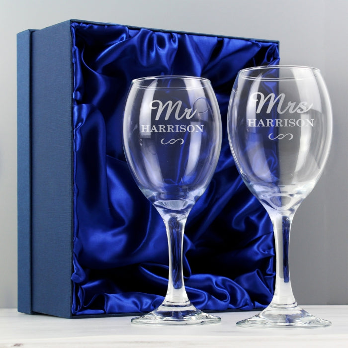 Buy Personalised Mr & Mrs Wine Glass Set