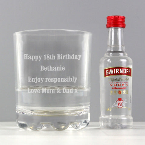 Personalised Tumbler and Smirnoff Vodka Miniature Set - Shane Todd Gifts UK