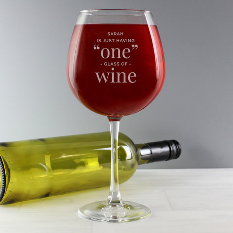 Buy Personalised 'One Glass' Bottle of Wine Glass