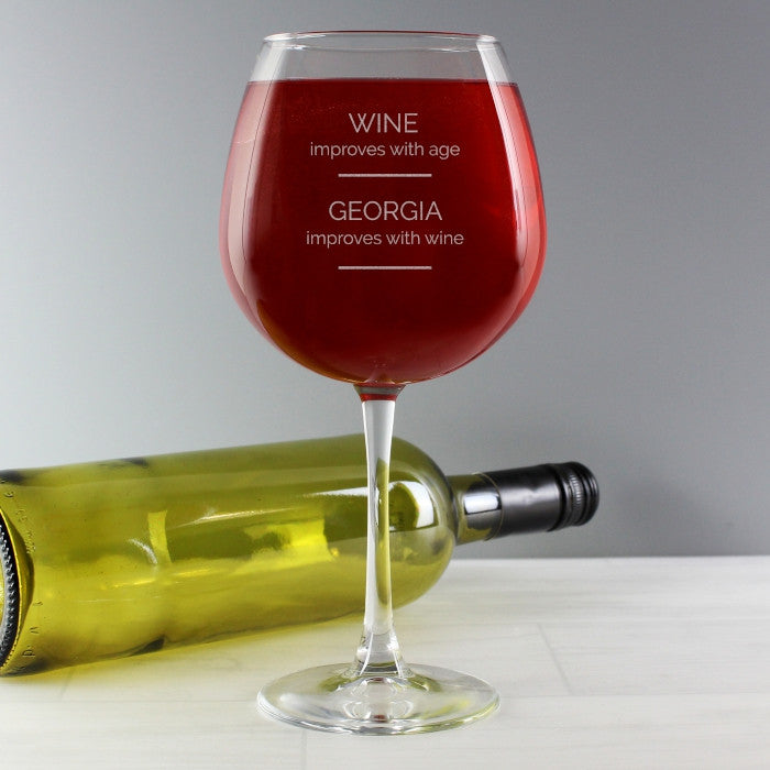 Personalised 'Wine Improves with Age' Bottle of Wine Glass, Food & Beverage Carriers by Gifts24-7