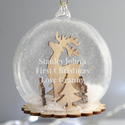 Personalised Reindeer Glass Bauble | ShaneToddGifts.co.uk