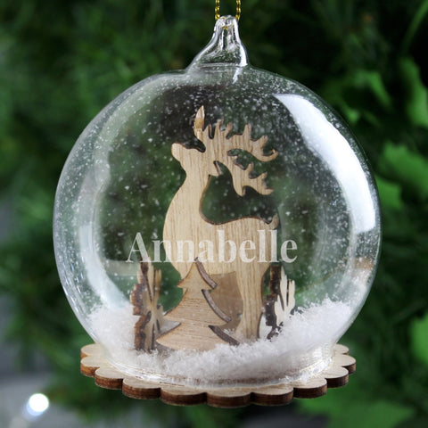 Buy Personalised Reindeer Name Only Glass Bauble