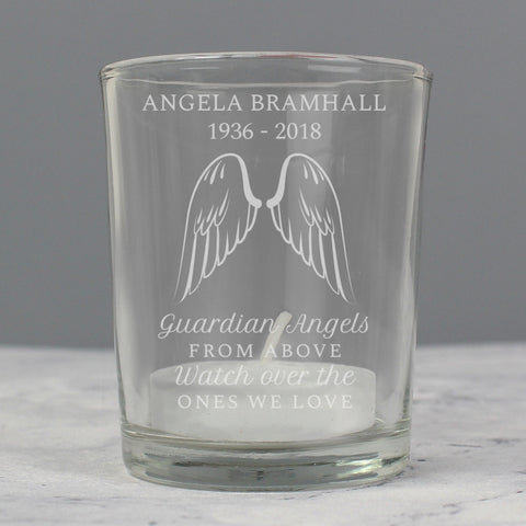 Personalised Guardian Angel Wings Votive Candle Holder