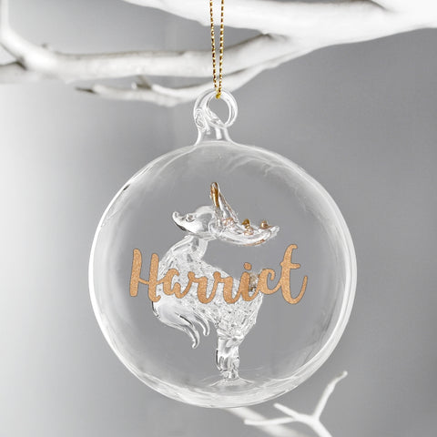 Buy Personalised Gold Glitter Name Only Reindeer Glass Bauble