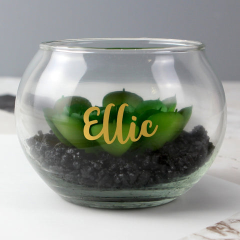 Personalised Gold Name Glass Terrarium