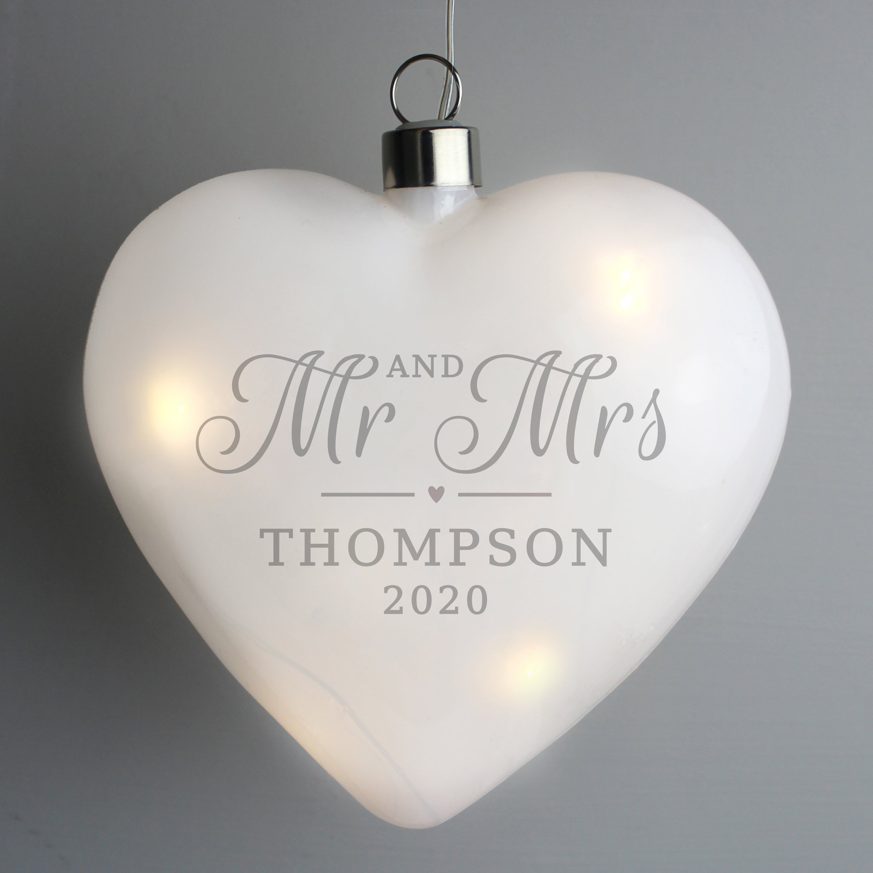Personalised Mr & Mrs LED Hanging Glass Heart, Arts & Entertainment by Gifts24-7