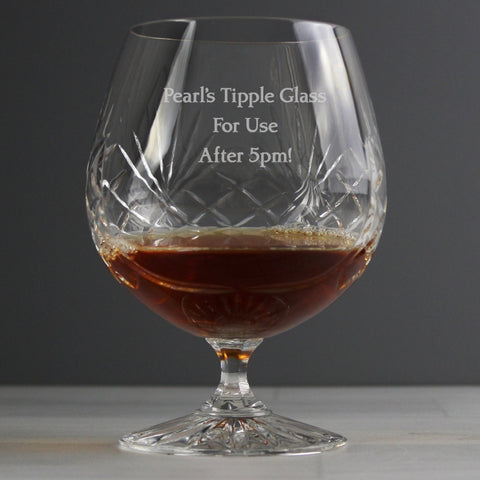 Buy Personalised Crystal Large Brandy Glass