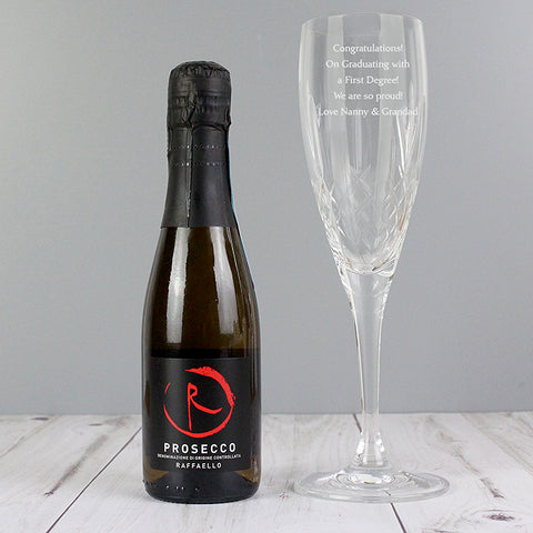 Personalised Crystal and Miniature Prosecco Set