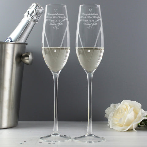 Buy Personalised Hand Cut Little Hearts Pair of Flutes with Swarovski Elements with Gift Box
