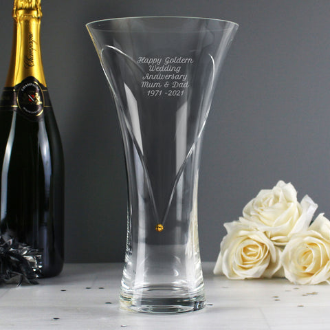 Personalised Large Infinity Vase with Gold Swarovski Elements