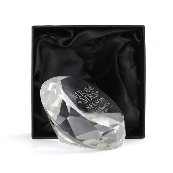Mr & Mrs Diamond Paperweight - Next Day Delivery