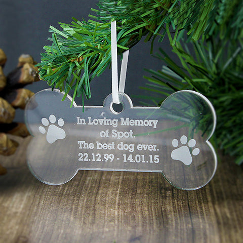 Buy Personalised Acrylic Dog Bone Decoration