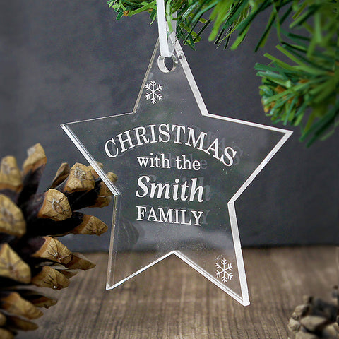 Buy Personalised Acrylic Christmas Star Decoration