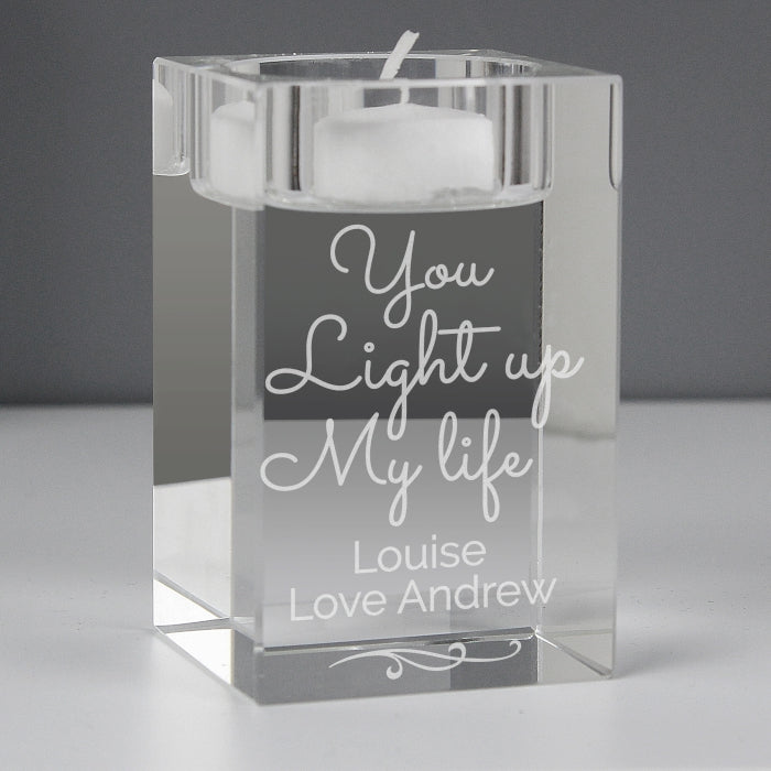 Personalised You Light Up My Life Glass Tea Light Holder | ShaneToddGifts.co.uk