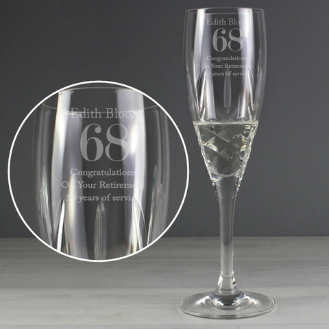 Buy Personalised Big Age Cut Crystal Champagne Flute