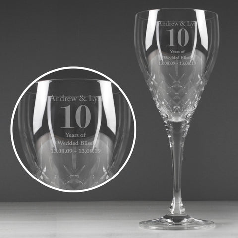Buy Personalised Big Age Cut Crystal Wine Glass