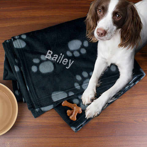 Buy Personalised Dog Paw Print Fleece Blanket