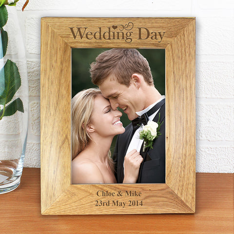 Buy Personalised Wedding Day 5x7 Wooden Photo Frame
