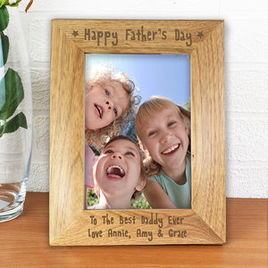 Personalised 5x7 Happy Fathers Day Wooden Photo Frame