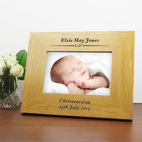 Buy Personalised Oak Finish 6x4 Formal Landscape Photo Frame