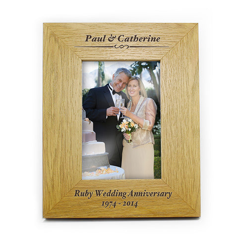 Personalised Oak Finish 4x6 Formal Portrait Photo Frame