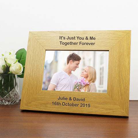 Personalised Oak Finish 6x4 Landscape Photo Frame - Long Message.