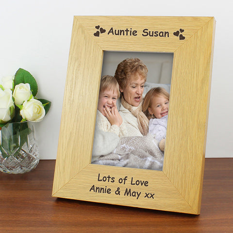 Personalised Oak Finish 6x4 Hearts Photo Frame - Shane Todd Gifts UK