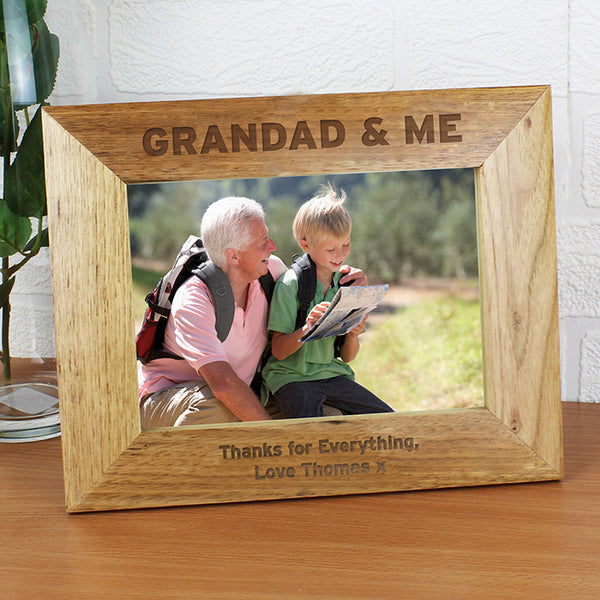 Personalised Grandad & Me 7x5 Wooden Photo Frame