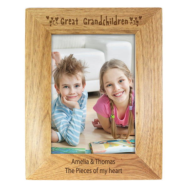 Personalised 5x7 Great Grandchilden Wooden Photo Frame - Shane Todd Gifts UK