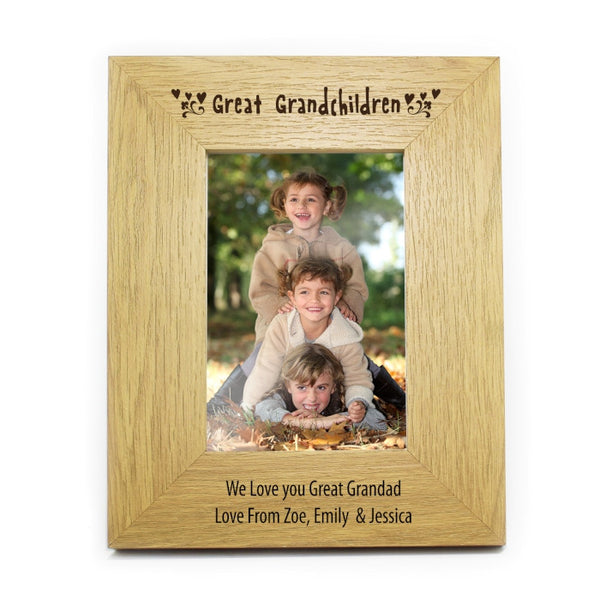 personalised-6x4-great-grandchildren-wooden-photo-frame