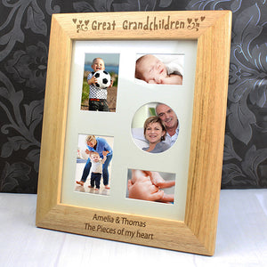 Personalised 8x10 Great Grandchildren Wooden Photo Frame