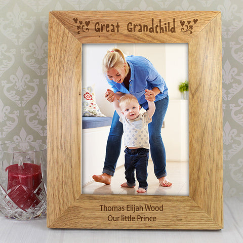 Personalised 5x7 Great Grandchild Wooden Photo Frame - Shane Todd Gifts UK