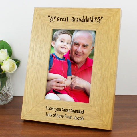 Buy Personalised Oak Finish 4x6 Great Grandchild Photo Frame