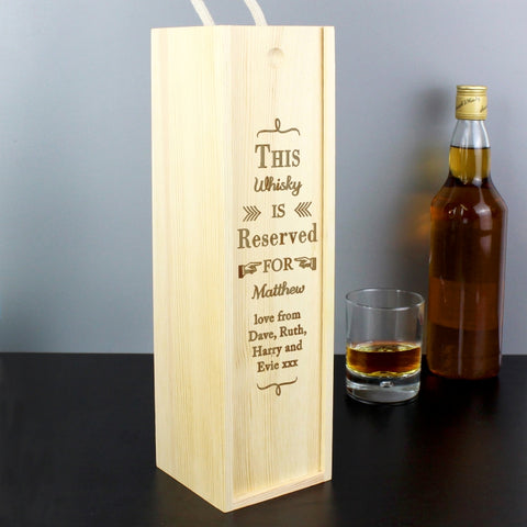 Personalised Reserved For Bottle Presentation Box | ShaneToddGifts.co.uk