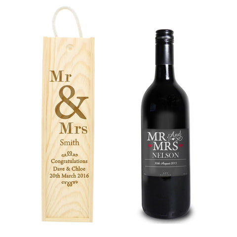 Personalised Mr & Mrs Wine &  Bottle Presentation Gift Set