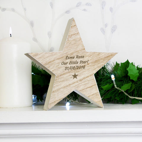 Buy Personalised Star Motif Rustic Wooden Star Decoration