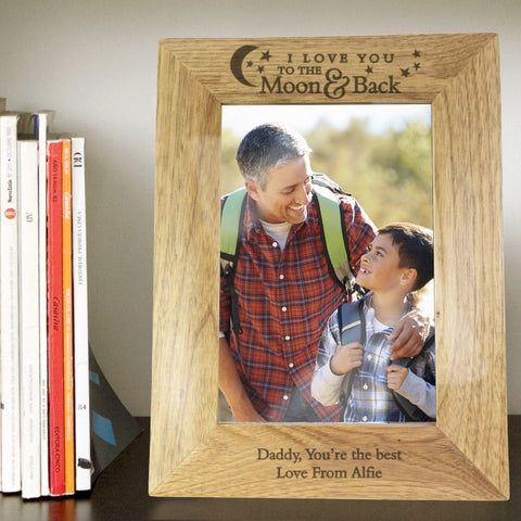 Personalised To the Moon and Back... 5x7 Wooden Photo Frame - Shane Todd Gifts UK