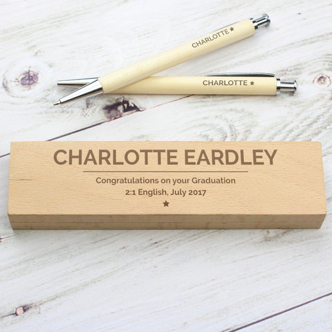 Personalised Classic Wooden Pen & Pencil Box Set - Shane Todd Gifts UK