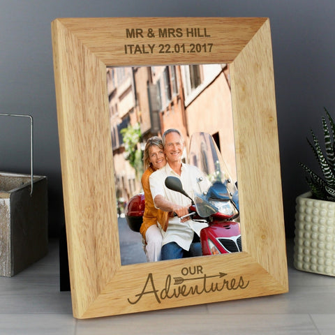Personalised Our Adventure 5x7 Wooden Photo Frame