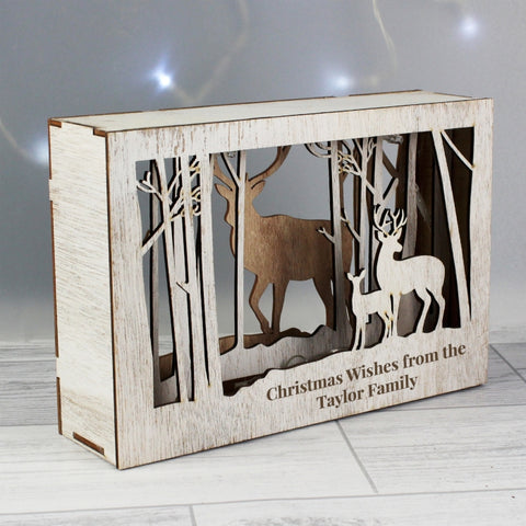Personalised Reindeer LED Christmas Scene