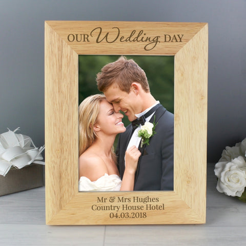 Personalised 'Our Wedding Day' Wooden 5x7 Photo Frame | ShaneToddGifts.co.uk