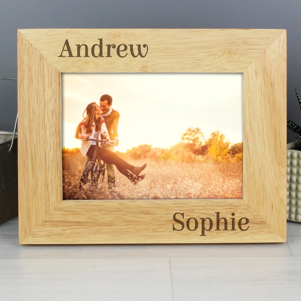 Personalised 7x5 Couples Wooden Photo Frame