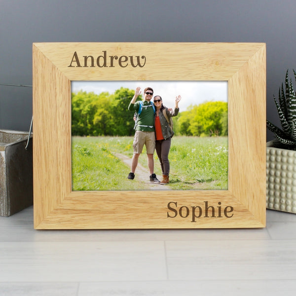 Personalised 6x4 Couples Wooden Photo Frame