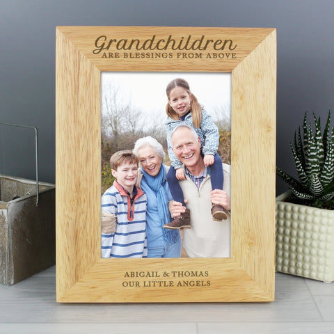 Personalised 'Grandchildren are a Blessing' 5x7 Wooden Photo Frame | ShaneToddGifts.co.uk