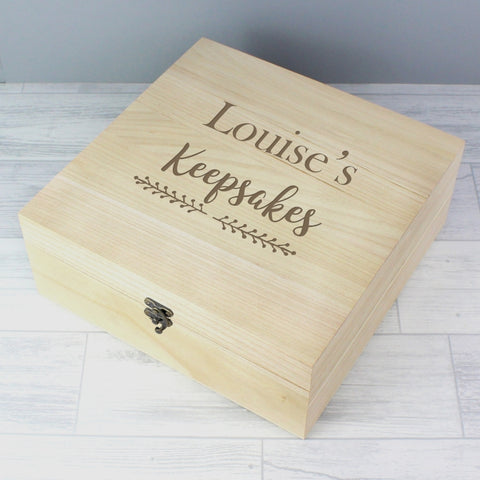 Personalised Floral Large Wooden Keepsake Box