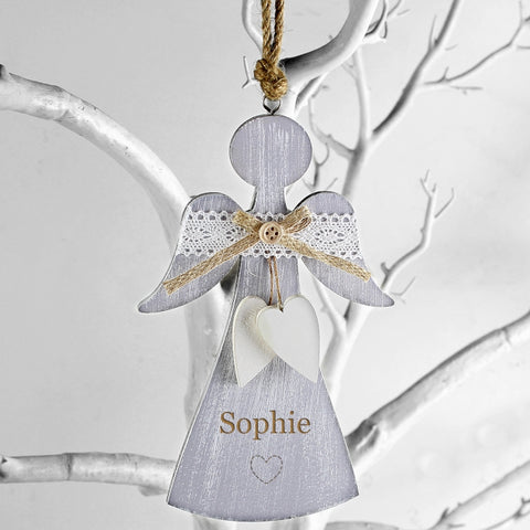 Personalised Hearts Wooden Angel Decoration