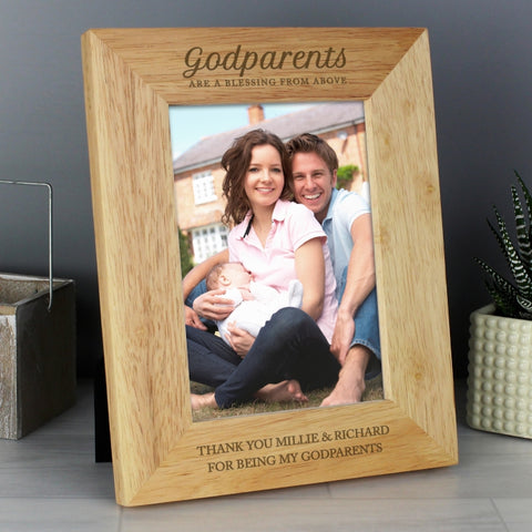 Buy Personalised Godparents 5x7 Wooden Photo Frame